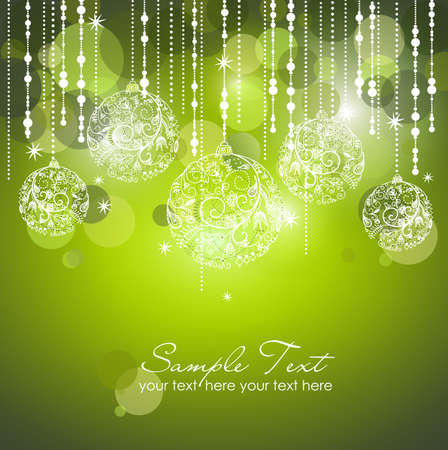 christmas greeting: Green Christmas Background with Christmas ornaments