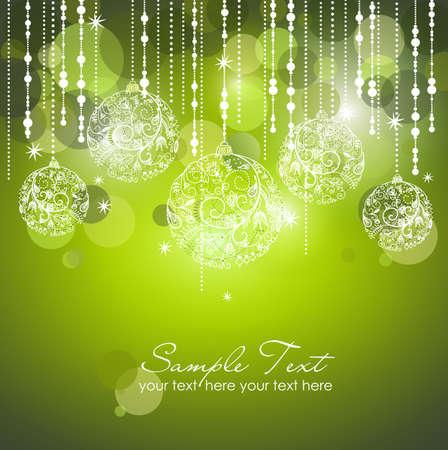 navidad elegante: Verde Navidad de fondo con adornos de Navidad