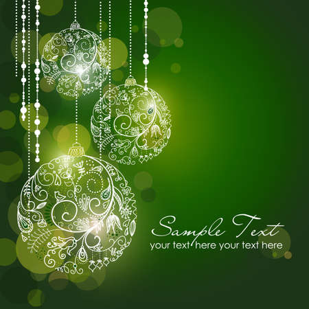 postcard background: Green Christmas Background with Christmas ornaments