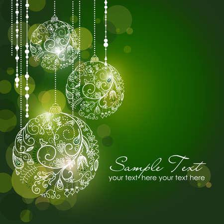 Groene Kerst Achtergrond met kerst ornamenten