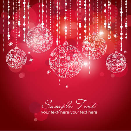 Card with christmas balls, vector illustration