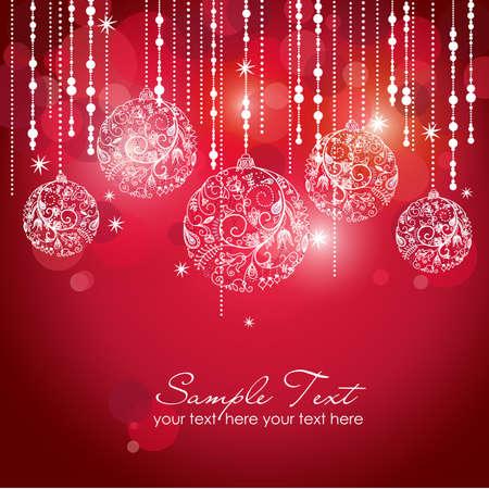 navidad elegante: Tarjeta con bolas de navidad, ilustraci�n vectorial
