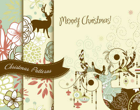 Set of Creative Christmas patterns with deers and flowers  Vector