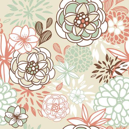 レトロ花柄のシームレスな背景。ロマンチックなシームレス パターン ベクトル  イラスト・ベクター素材