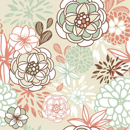 Retro floral seamless background. Romantic seamless pattern in vector  Illustration