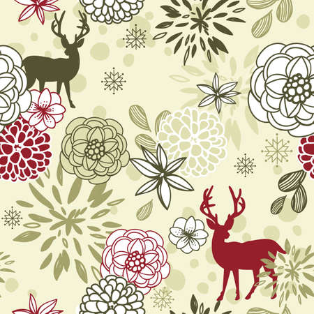 Christmas floral seamless pattern with deers and birds Stock Vector - 11419718