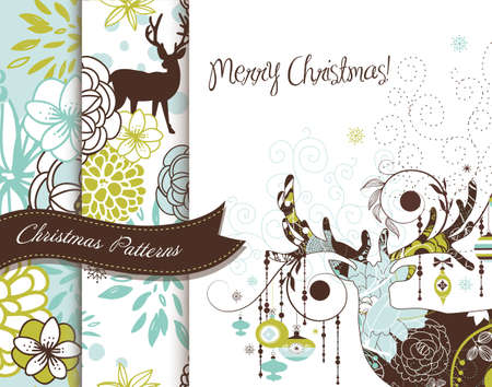 Set of Creative Christmas patterns with deers and flowers Ilustrace