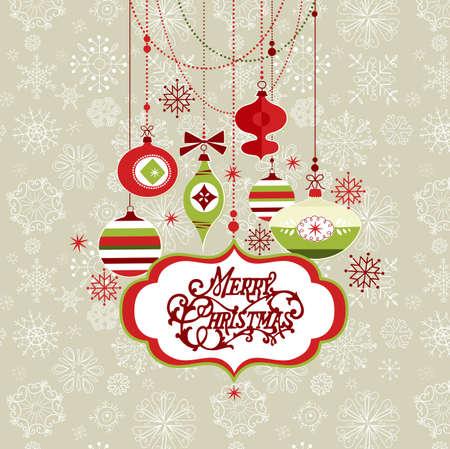 スクラップブッキング: レトロなクリスマス背景  イラスト・ベクター素材