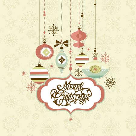 xmas decoration: Retro Christmas background  Illustration