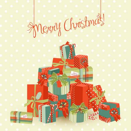 new year card: A huge pile of Christmas gifts. Vector Illustration