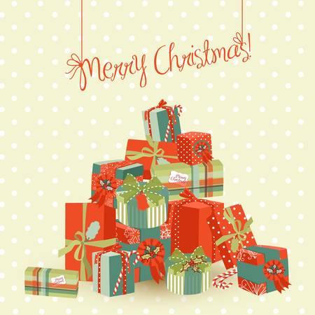 Een enorme stapel van kerst cadeaus. Vector Illustratie Stock Illustratie