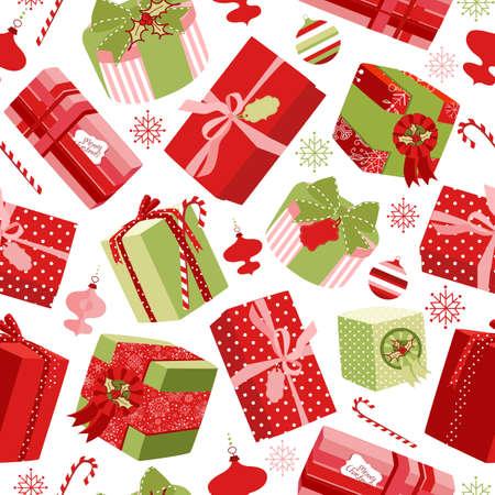 Rétro Noël Coffrets cadeaux. Seamless Banque d'images - 11419760