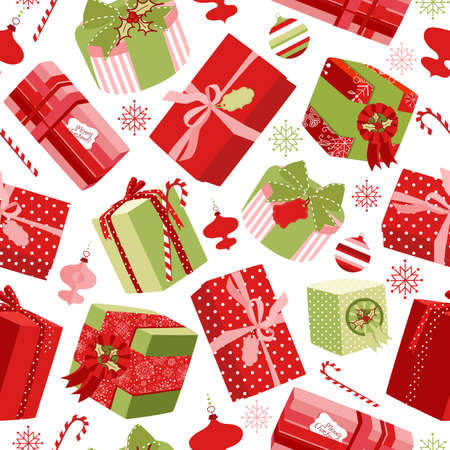wrappings: Retro Christmas Gift boxes. Seamless pattern