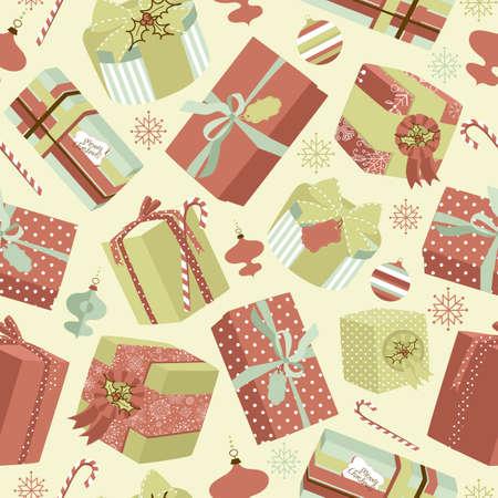 레트로 크리스마스 선물 상자. 원활한 패턴