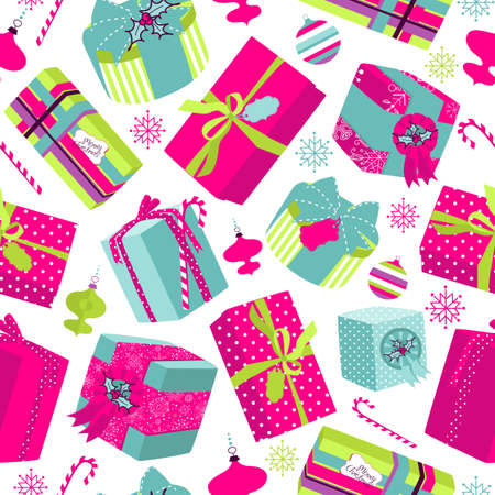 Retro Christmas Gift boxes. Seamless pattern  Vector