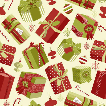 Retro Christmas Gift boxes. Seamless pattern  Ilustrace