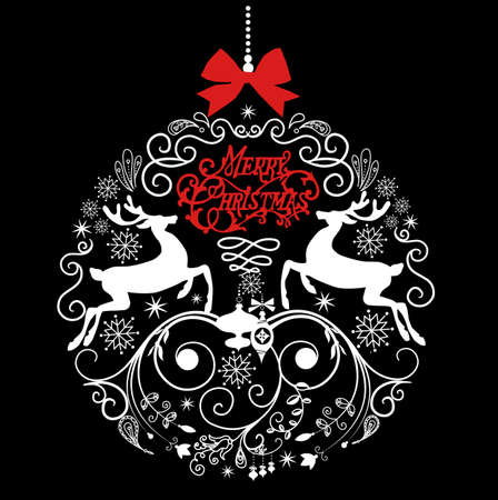 Black and White Christmas ball illustration.