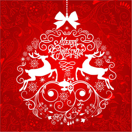 Red and White Christmas ball illustration.  Vector