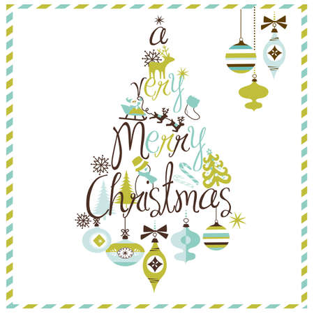 A Very Merry Christmas tree design  Vector