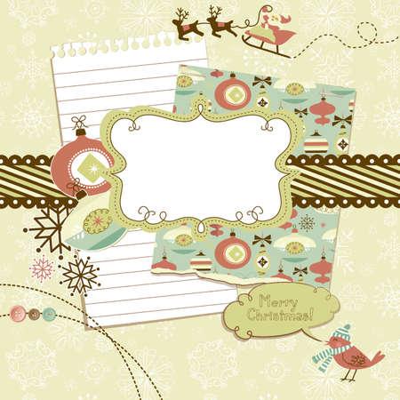 year of rooster: Lindo de la Navidad del libro de recuerdos elementos Vectores