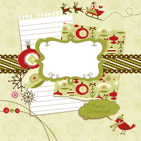 Cute Christmas scrapbook elements Stock Vector - 11419770