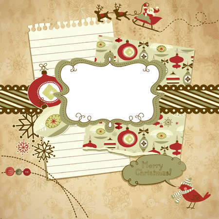 Cute Christmas scrapbook elements Stock Vector - 11419773
