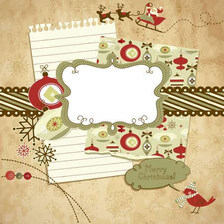 Cute Christmas scrapbook elements Stock Vector - 11419773