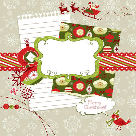 Cute Christmas scrapbook elements Vector