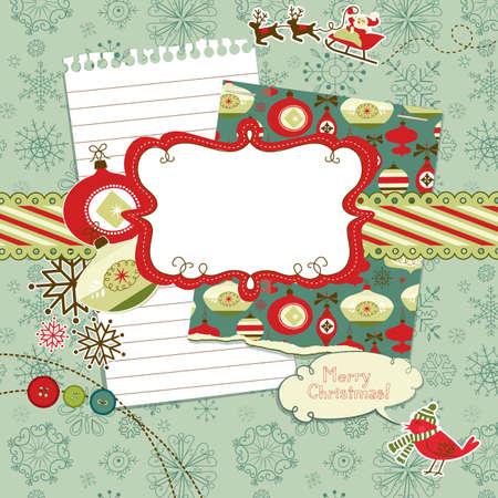 fotoalbum vintage: Cute Christmas Scrapbook-Elemente Illustration