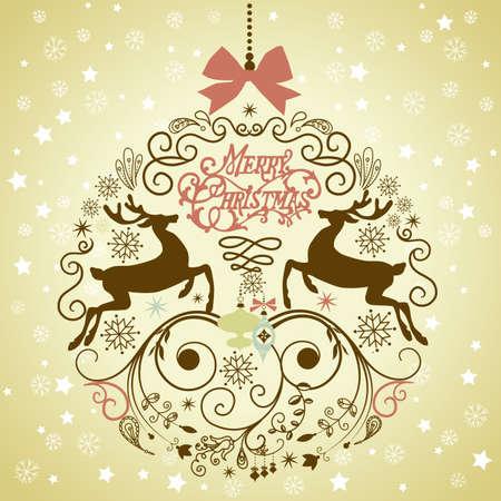 renos de navidad: Hermosa Navidad ilustración de bolas.