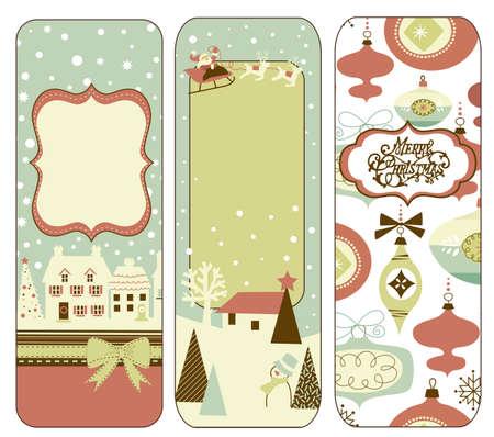 Cute Vertical Christmas banners in retro style Archivio Fotografico