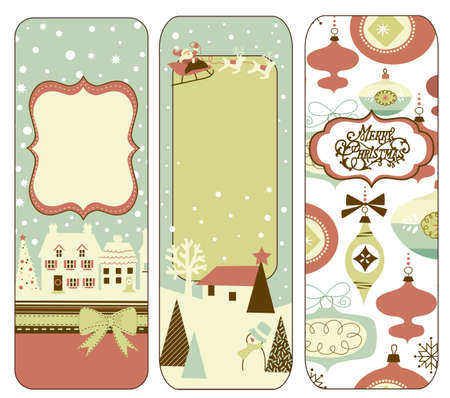 Cute Vertical Christmas banners in retro style Banque d'images