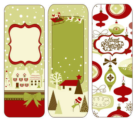 happy new year banner: Cute Vertical Christmas banners in retro style Stock Photo