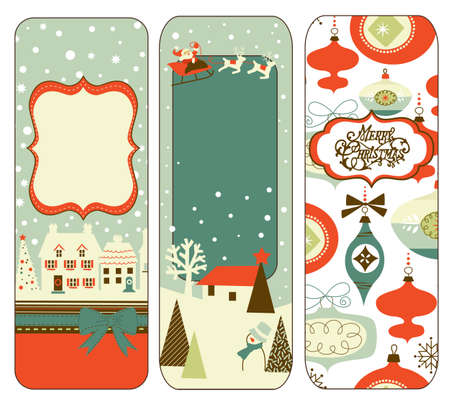 Mignon verticale bannières de Noël dans le style rétro Banque d'images - 11578716