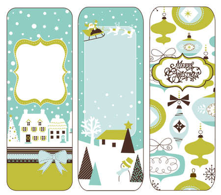 Cute Vertical Christmas banners in retro style photo