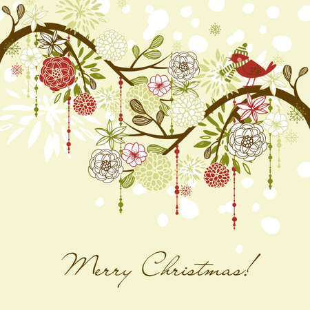 free christmas: Floral Winter background.  Stock Photo