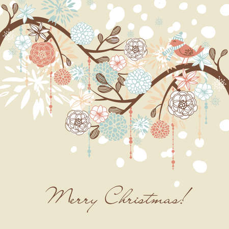 Floral Winter background.  photo