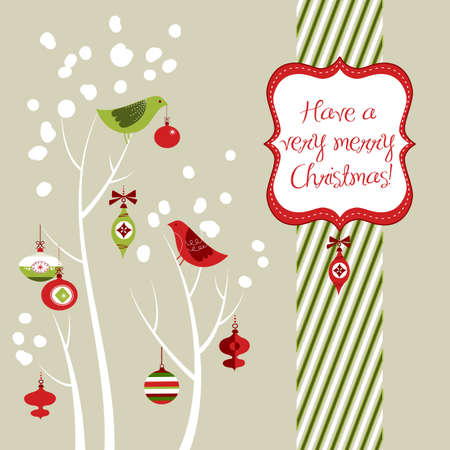 Retro Christmas card with two birds, white snowflakes, winter trees and baubles Stock Photo - 11566404