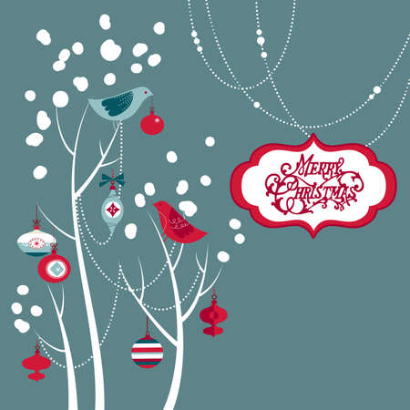 december: Retro Christmas card with two birds, white snowflakes, winter trees and baubles  Stock Photo
