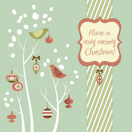 happy new year text: Retro Christmas card with two birds, white snowflakes, winter trees and baubles  Stock Photo