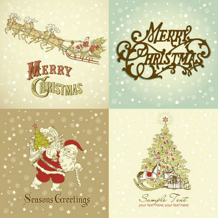 Set of Christmas Cards in vintage style photo