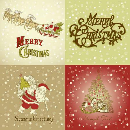 papa noel en trineo: Conjunto de tarjetas de Navidad en el estilo de la vendimia