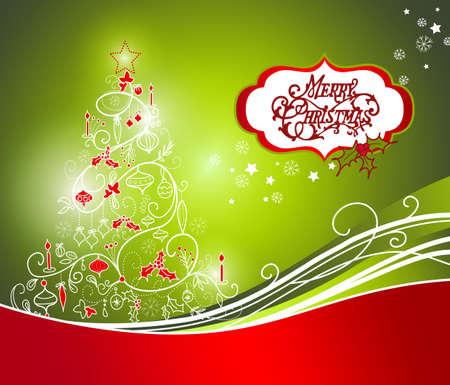Le bel arbre de Noël sur fond rouge Banque d'images - 11582812