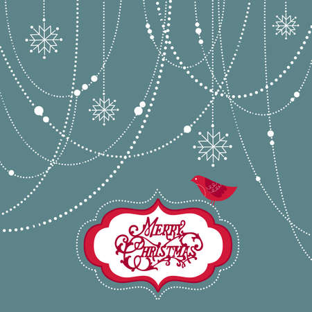 Abstract Christmas Background, christmas decorations, snowflakes and a bird photo