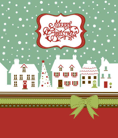 Christmas card, cute little town in winter Stock Photo - 11566397