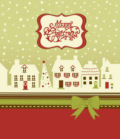 Christmas card, cute little town in winter photo