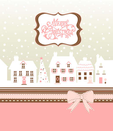 little town: Christmas card, cute little town in winter  Stock Photo