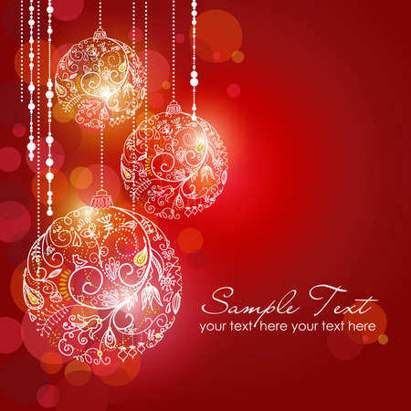 christmas decor: Red Christmas Background with Christmas ornaments