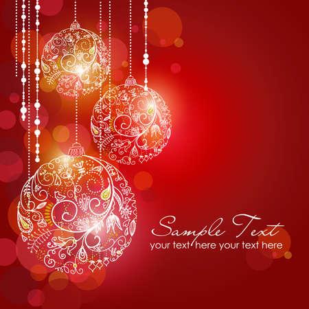 invitación a fiesta: Red fondo de Navidad con adornos de Navidad