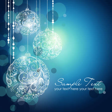 greeting christmas: Blue Christmas Background with Christmas ornaments Stock Photo